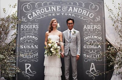 Decoración de boda con pintura negra para pizarrón
