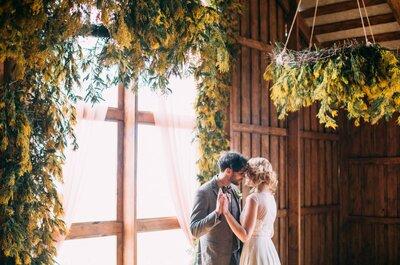 Дыхание мимозы: свадебная фотосессия в стиле кантри