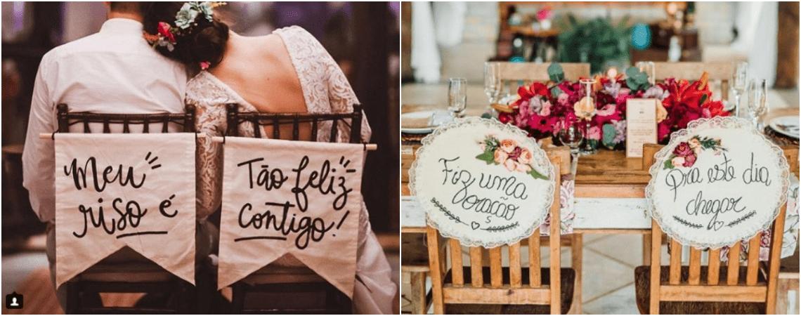 Mais de 20 ideias de plaquinhas para as cadeiras dos noivos: inspire-se!
