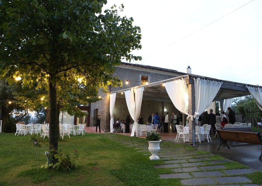 Antico Casale: gli ampi spazi, luminosi e scenografici sono adatti alle nozze in ogni stagione