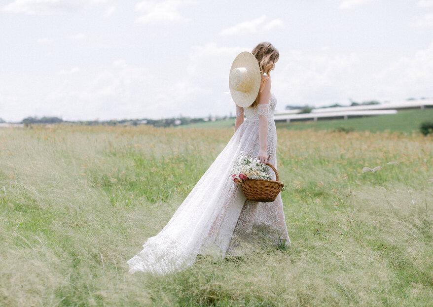 A Colheita 2021: campestre, delicado e elegante... assim é este editorial e os seus vestidos de noiva!