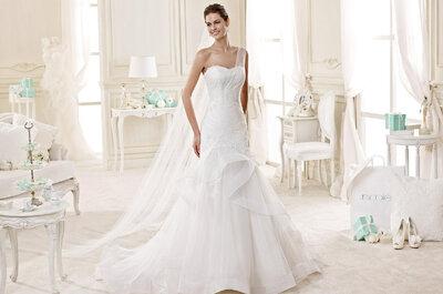 Misez sur une robe de mariée avec décolleté asymétrique pour votre grand jour.