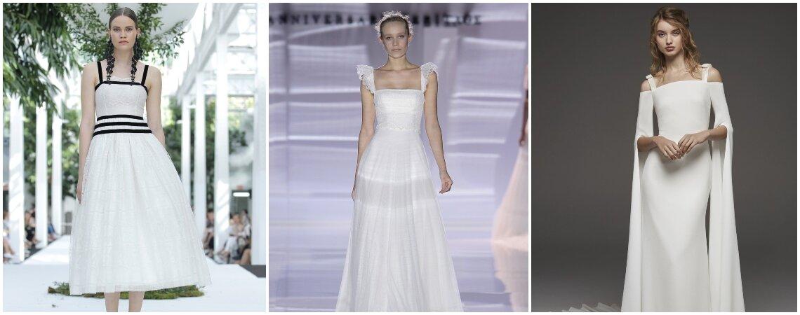 Preciosos vestidos de novia escote cuadrado: un clásico que nunca muere