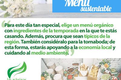 Elige un exquisito menú sustentable para tu boda ecofriendly