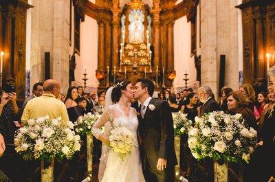 Casamento clássico de Estela & Renan: decoração super luxuosa e festa na Confeitaria Colombo!