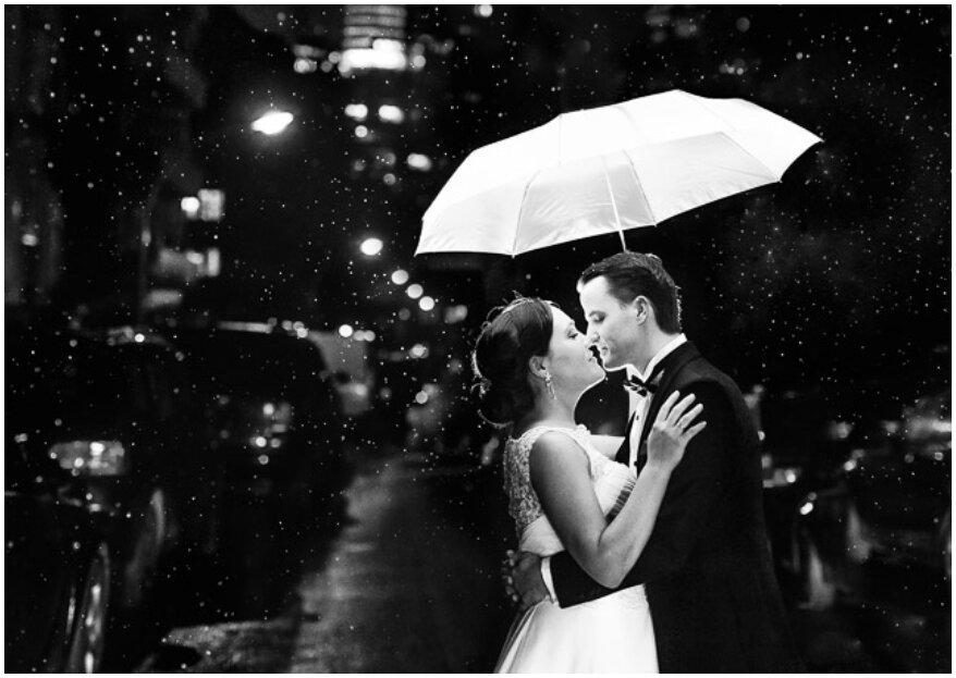 Cómo sortear la lluvia en tu boda y sacarle el mejor provecho. ¡Estos son los pasos!