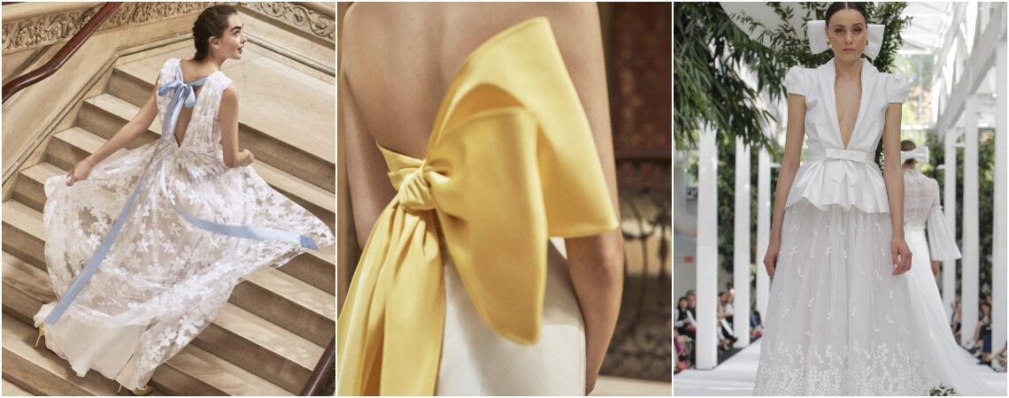 Vestidos de novia con cintas o lazos. ¡Romanticismo y feminidad en estos modelos!