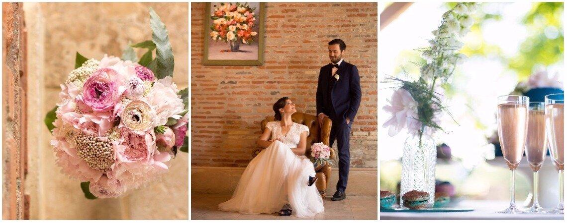 Une inspiration bleu nuit et rose poudré avec une pointe d'or pour un mariage élégant au Château de Loubéjac