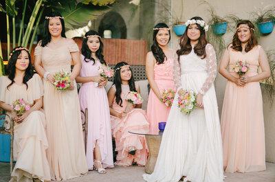 Sehen Sie hier Brautjungfern-Kleider in Pastell