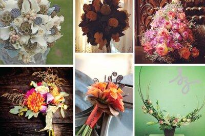 Collage de inspiración de flores secas para boda en otoño