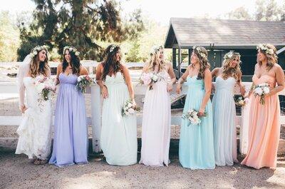 Cómo combinar los vestidos de tus damas de boda para que todas se vean divinas