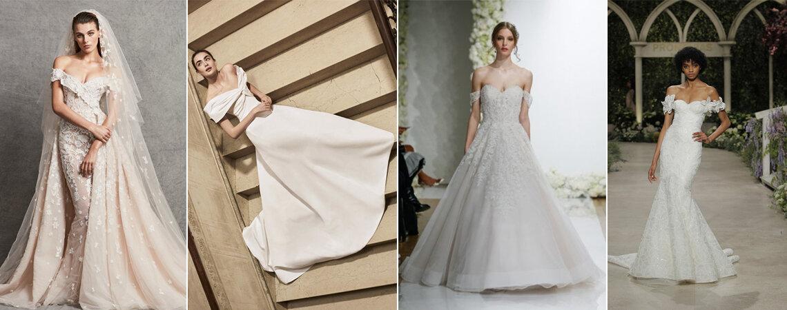 Vestidos de noiva de ombros caídos: sinal de distinção e elegância!