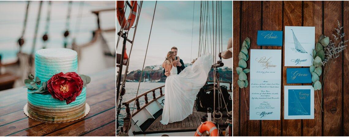 In den Hafen der Ehe einlaufen: Zauberhafte Hochzeit auf dem Boot vor Santorini!