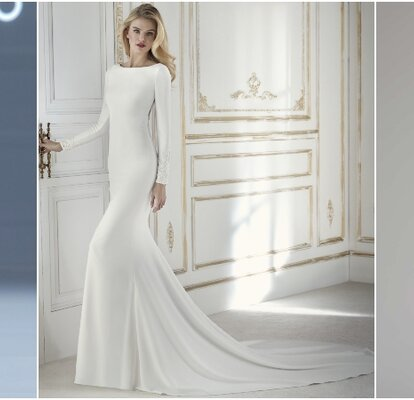 859891bfa79 Si pasas de los brillos, volantes, bordados, encajes o pedrería y quieres  lucir un diseño sencillo el día de tu boda, ¡entre estos vestidos de novia  ...