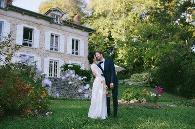 Sophie + Robin : Un élégant mariage près de Paris et une mariée aux airs de Frida Kahlo