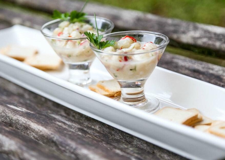 Maria Luiza Buffet: pratos que conquistam por seus aromas, cores e sabores, levando uma experiência gustativa inesquecível para o seu casamento!
