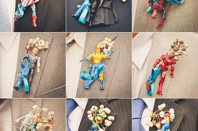 Boutonnieres divertidos para invitados de boda
