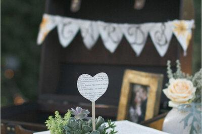 Un detalle muy especial para la decoración de tu boda: los libros