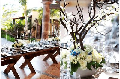 Centros de mesa en color azul para boda 2013