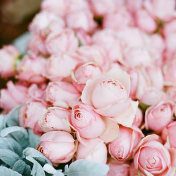 Centro de flores rosas e cinza azuladas. Credits: Katie Parra Photography
