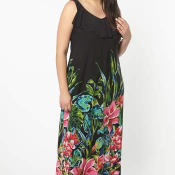 Black Tropical Print ITY Maxi Dress. Credits_ Evans