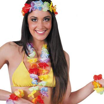 Juego de hawaiano collar, corona y pulseras- Compra en The Wedding Shop