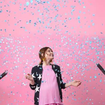 Lanzador de confeti gender reveal azul 60 cm- Compra en The Wedding Shop
