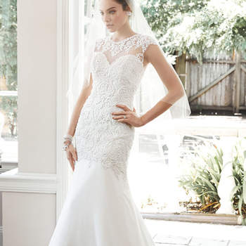 "A stunning illusion back takes center stage in this otherwise understated sheath wedding dress, with lace bodice, accented with Swarovski crystal and pearl embellishments, and a feminine Arlo chiffon skirt. Finished with illusion sweetheart neckline and pearl buttons over zipper closure.  <a href=""http://www.maggiesottero.com/dress.aspx?style=5MT659"" target=""_blank"">Maggie Sottero</a>"