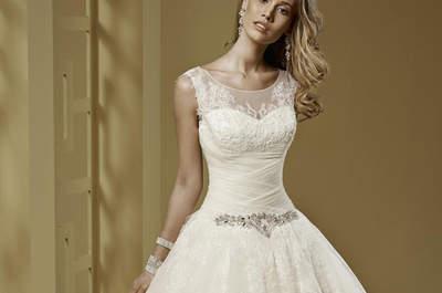 Robe de mariée Nicole Spose 2015 : coupe princesse et pierres joyeuses pour la collection Romance