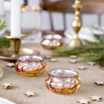 Candelabro de cristal rosa dorado de 3 cm 4 piezas- Compra en The Wedding Shop