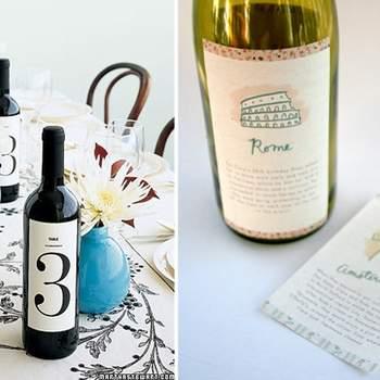 Vini e prodotti locali tipici per i vostri invitati, da personalizzare con etichette e packaging ad hoc.  Foto di Martha Stewart, Alli Coate via http://greenweddingshoes.com