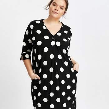 Credits: Black Spot Print Button Neck Shift Dress, Evans