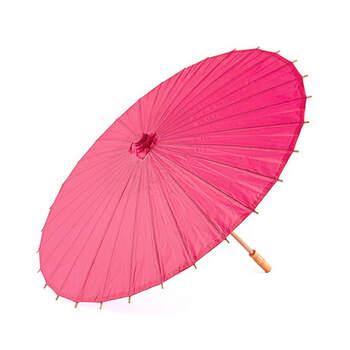 Sombrilla de bambú fucsia - Compra en The Wedding Shop