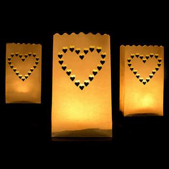 Bolsas portavelas corazón 10 unidades- Compra en The Wedding Shop