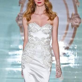 Свадебное платье по фигуре, длинное, без корсета, декольте с вырезом V.