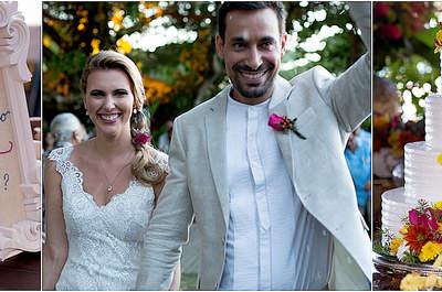 Vanessa & Taiguara: casamento rústico chic mega colorido sob o pôr do sol de Búzios