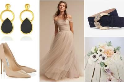 Look der Woche: die Braut in der Trendfarbe Nude - kombiniert mit schwarzen Accessoires