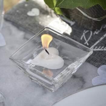 Bougie Flottante Coeur Blanc 2 Pièces - The Wedding Shop !