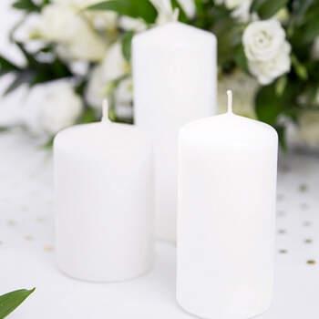 Vela decorativa Blanca Grande 6 Unidades- Compra en The Wedding Shop