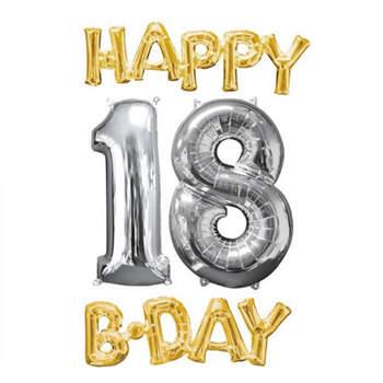 Happy B-Day 18 set de globos de oro y plata- Compra en The Wedding Shop
