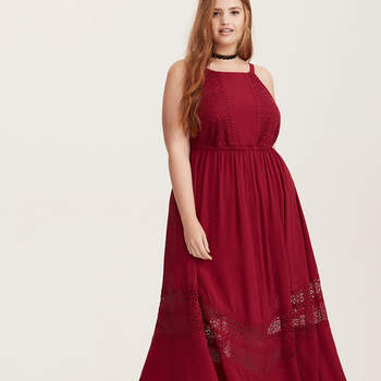 Red Gauze & Lace Maxi Dress. Credits: Torrid