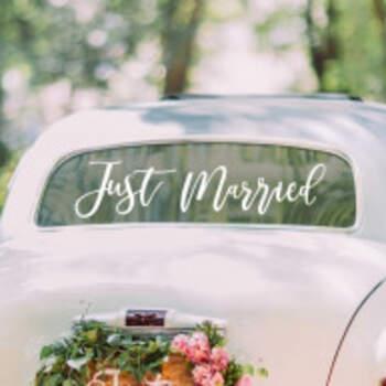 Adhésif Pour Voiture Just Married Blanc - The Wedding Shop !