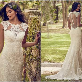 "Classic lace motifs cascade over this tulle sheath wedding dress, accenting the illusion jewel over sweetheart neckline, illusion cap-sleeves, and illusion back. Lined with Inessa Jersey for a luxe fit. Finished with covered buttons and zipper closure.  <a href=""https://www.maggiesottero.com/maggie-sottero/nori/11180?utm_source=zankyou&amp;utm_medium=gowngallery"" target=""_blank"">Maggie Sottero</a>"
