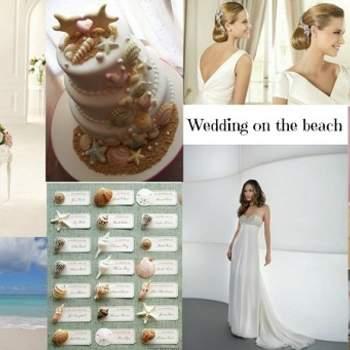 Foto: Vestido de Pronovias 2013 (esq), vestido Demetrios 2013 (dir), bolo sposalicious.com, acessórios para o cabelo de Pronovias, flip flop de Havaianas e Tableau Mariage, bouquet de Martha Stewart.