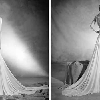 Un vestido de novia que dibuja el romanticismo sobre el cuerpo de la novia. Este diseño evasé realizado en gasa de seda de talle a la cintura y un escote caja con efecto segunda piel en tul, hilo bordado y preciosas aplicaciones de pedrería, es el mejor ejemplo de elegancia.