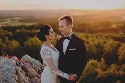 Plenerowa sesja ślubna Moniki i Szymona o leśnym zachodzie słońca, a jako dodatek analogowe kadry!