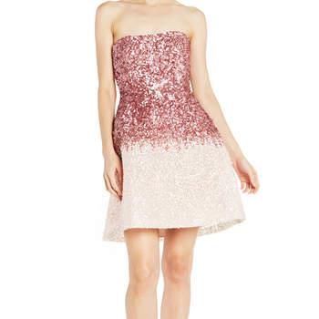 Strapless ombré seguin mini dress. Credits- Monique Lhuillier