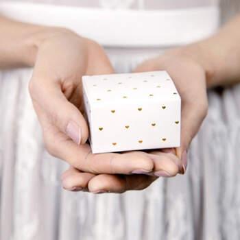 Caja corazones oro 10 Unidades- Compra en The Wedding Shop
