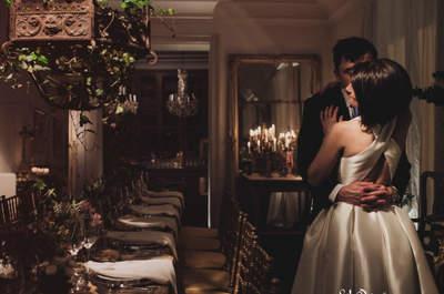 Una novia de corto en un palacete madrileño: la boda de Carmen y Alejandro