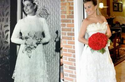 Luce el vestido de tu madre el día de tu matrimonio. ¡Una opción muy emotiva!